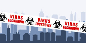 City with virus infection lockdown tape. Virus epidemic safety barrier vector.