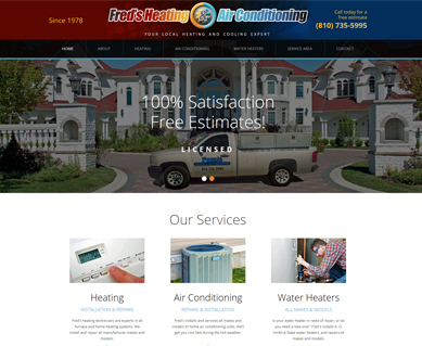 Heating and Air Conditioning Website Design Portfolio Michigan