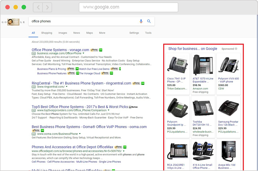 Google Shopping Experts Search Example